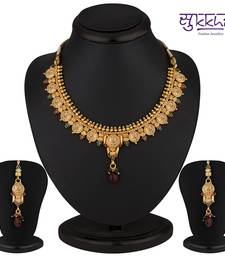 Buy Sukkhi Eye-Catchy Gold Plated Multicoloured Goddess Laxmi Necklace Set necklace-set online