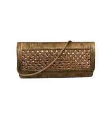 Buy Metallic Hue Pleated Clutch (Gold) clutch online