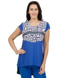 Buy Blue printed Rayon tunics tunic online