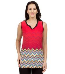 Buy Red printed Knit tunics tunic online