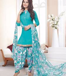 Buy Sky Blue printed Crepe unstitched salwar with dupatta dress-material online