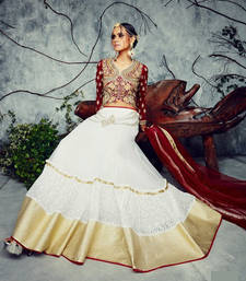 Buy White Heavy net and rachal net  embroidered unstitched lehenga-choli lehenga-choli online