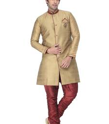 Buy beige indowestern kurta set with fancy buttons and broach indo-western-dress online