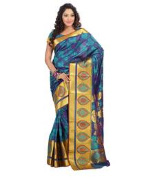 Buy Turqoise woven art silk saree with blouse kanchipuram-silk-saree online