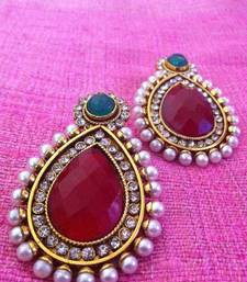 Buy Colourful maroon green stone charming pearl polki earring c286mg gifts-for-wife online
