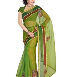 Buy ISHIN Tissue Net Green saree  ISHI-8 tissue-saree online