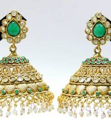 Buy ANTIQUE GOLDEN GREEN N WHITE STONES BIG JHUMKA men-shoe online