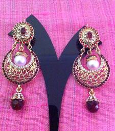 Buy Stunning hoop earrings with pearls and crystal style stones ABARI0AG0038 Earring online