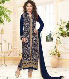 Buy Blue embroidered georgette semi stitched salwar with dupatta eid-special-salwar-kameez online