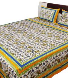 Buy Jaipuri Royal Wedding Print Pure Cotton Double Bed Sheet bed-sheet online
