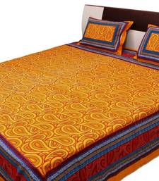 Buy Sanganeri Printed Paisley Pattern Pure Cotton Double Bed Sheet bed-sheet online