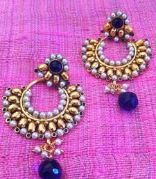Buy Deep blue beautiful ethnic earrings with pearl stones and pearls by adiva c99b ha99b gifts-for-girlfriend online