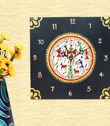 Buy Wooden Wall Clock - Warli Dance wall-clock online