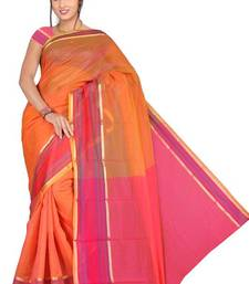 Buy Pavecha's Mangalgiri Chettinad Cotton Net Sari Orange DNO 548 cotton-saree online