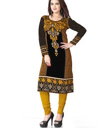 Buy Black and yellow  american crepe printed kurti long-kurti online