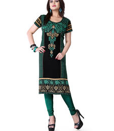 Buy Black and green american crepe printed kurti plus-size-kurti online