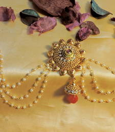 Buy elegant pearl and kundan red green hair accessories hair-accessory online