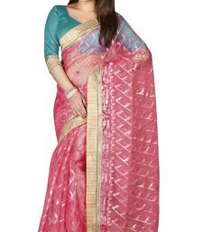 Buy Pink printed tissue saree with blouse tissue-saree online