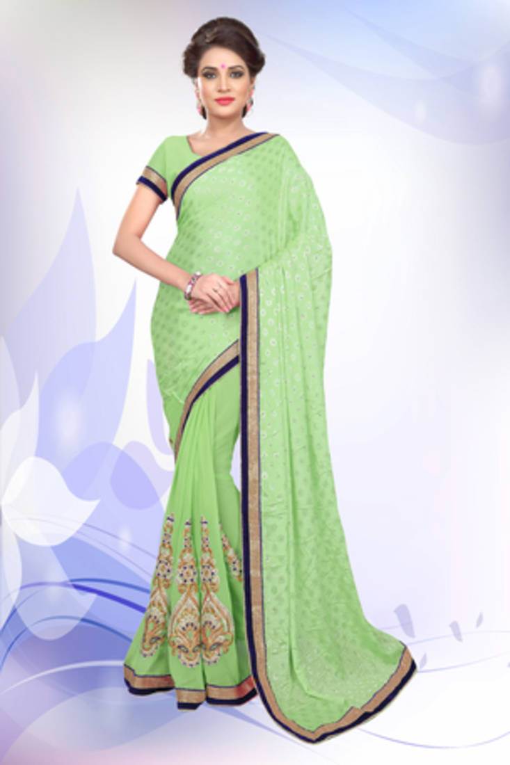 Buy Pista Green Embroidered Jacquard Saree With Blouse Online