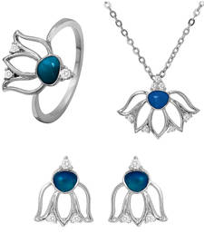 Buy Blue Lotus Flower Rhodium Plated Pendant Set with Ring for Women jewellery-combo online