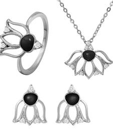 Buy Black Lotus Flower Rhodium Plated Pendant Set with Ring for Women jewellery-combo online
