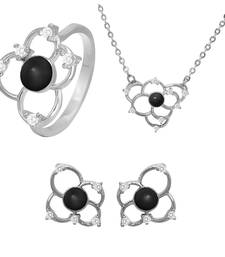 Buy Black Flower Rhodium Plated Pendant Set with Ring for Women jewellery-combo online