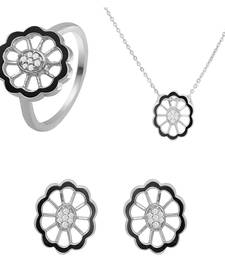 Buy Black Floral Rhodium Plated Pendant Set with Ring for Women jewellery-combo online