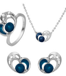 Buy Blue Heart Rhodium Plated Pendant Set with Ring for Women jewellery-combo online