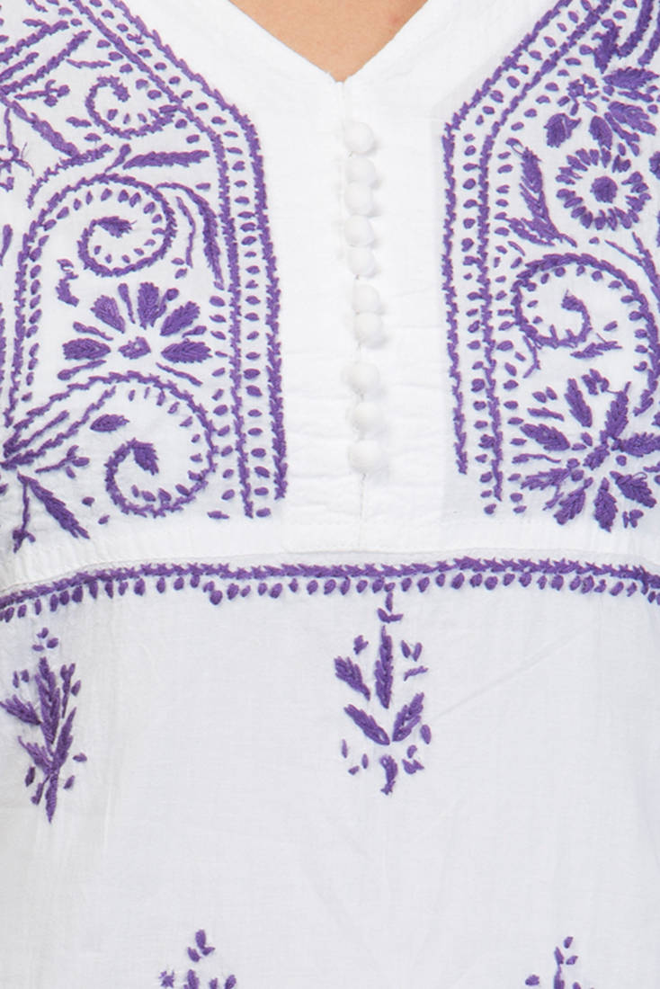 Buy hand embroidery small white cotton lucknow chikankari