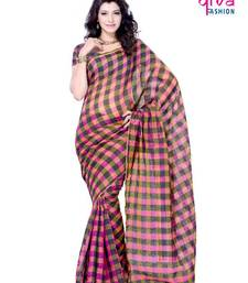 Buy Chequered Casual/Party wear fancy saree by DIVA FASHION- Surat art-silk-saree online