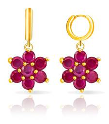 Mahi Gold Plated Ruby Flowers Earring With Ruby shop online