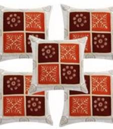 Buy White Polysilk Cushion Cover- Set of 5 pillow-cover online