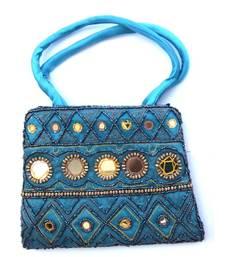 Buy Blue color silk bag handbag online