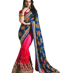 Buy Shreeji Fashion Pink and  blue  sequence work georgette saree with blouse jute-saree online