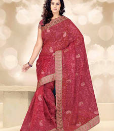 Buy Maroon embroidered tissu saree with blouse tissue-saree online