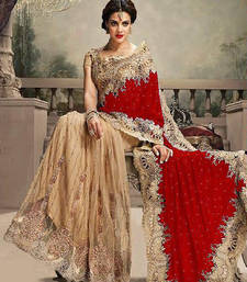 Red Embroidered Net Saree