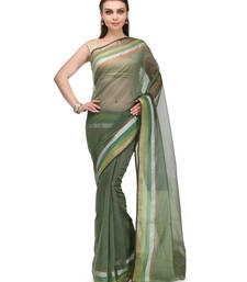 Buy mehendi woven super net saree with blouse banarasi-saree online