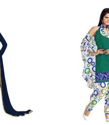 Buy Navy blue and green embroidered and printed faux georgette unstitched salwar with dupatta salwar-combo online
