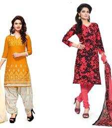 Buy Yellow and tomato red embroidered and printed chanderi unstitched salwar with dupatta salwar-combo online