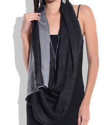 Buy Reversible Black and Grey Pure Wool Shawl shawl online