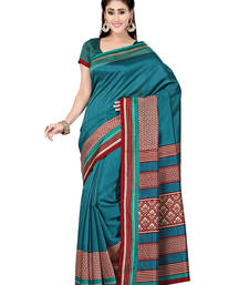 Buy Blue printed art silk saree with blouse bhagalpuri-silk-saree online