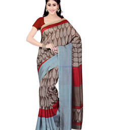 Buy Grey printed art silk saree with blouse bhagalpuri-silk-saree online