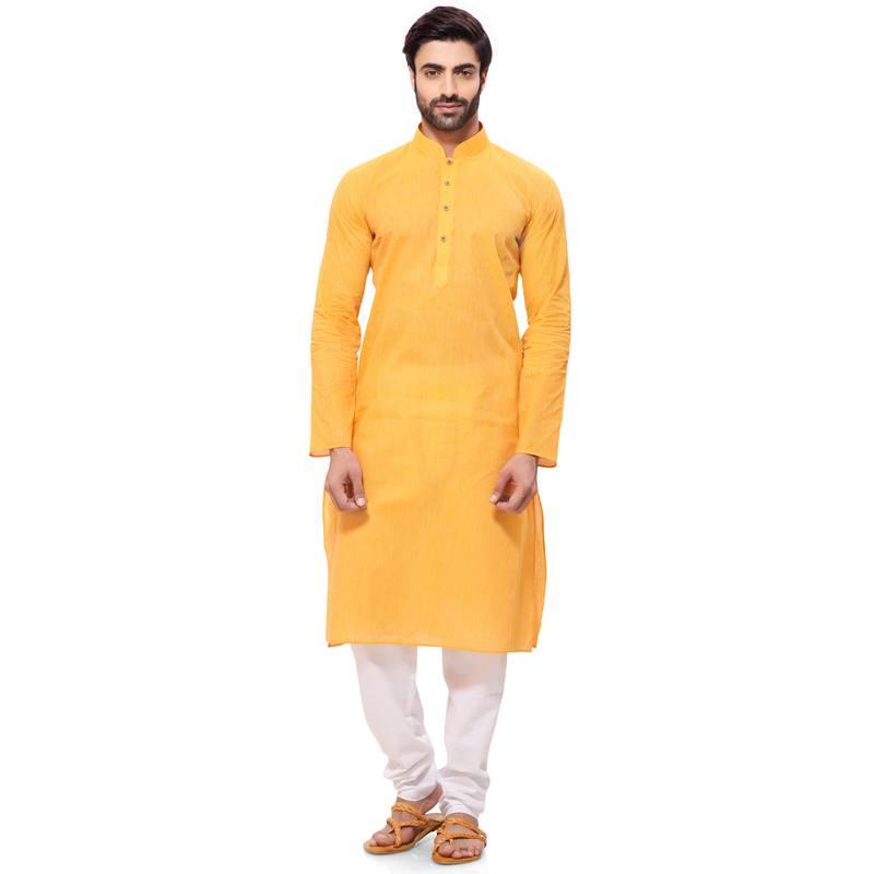 Buy Men's Handloom Yellow Kurta Pyjama Online