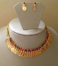 Buy Goddess Laxmi Necklace Gold Plated Necklace Set for sale Necklace online