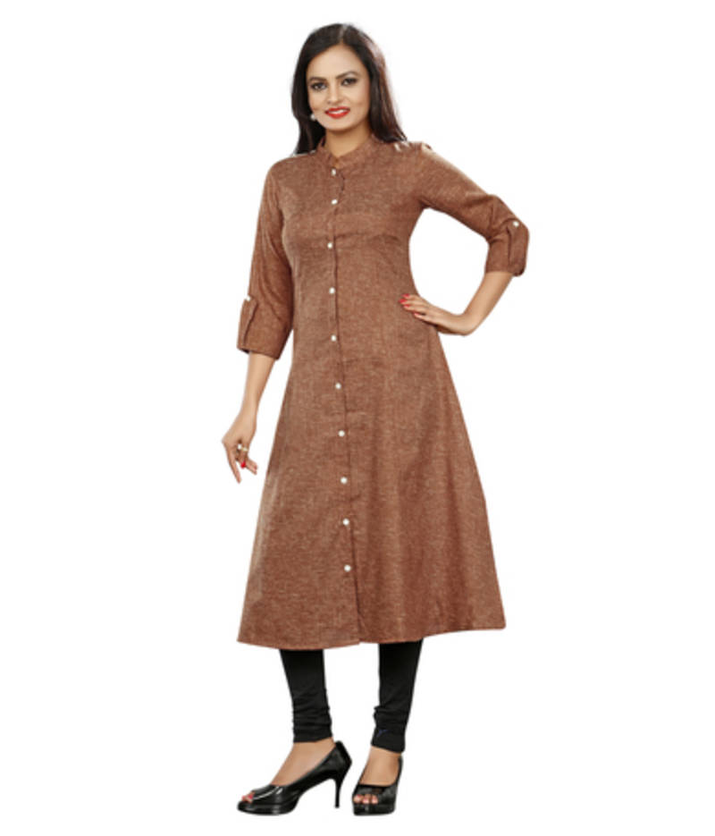 Buy Brown Khadi Plain Kurti Online