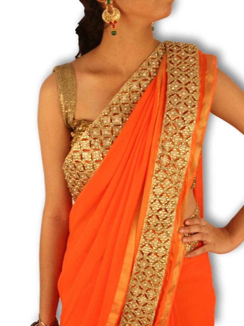 Buy Orange Plain Georgette Saree With Blouse Online