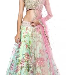 Buy Green embrodered net lehenga choli lehenga-choli online