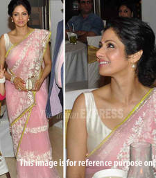 Buy Pink embroidered net saree with blouse with blouse sridevi-saree online