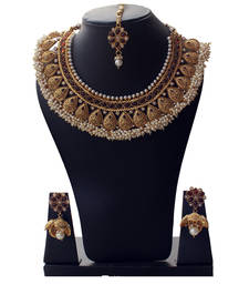 Buy Best-Seller Anqitue Gold Designer Copper Necklace Set with Tiny Pearls necklace-set online