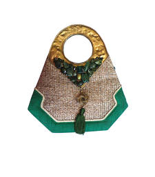 Buy Green jute embroidered handbags handbag online